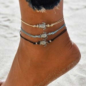 3 Turtle Anklets on Cord